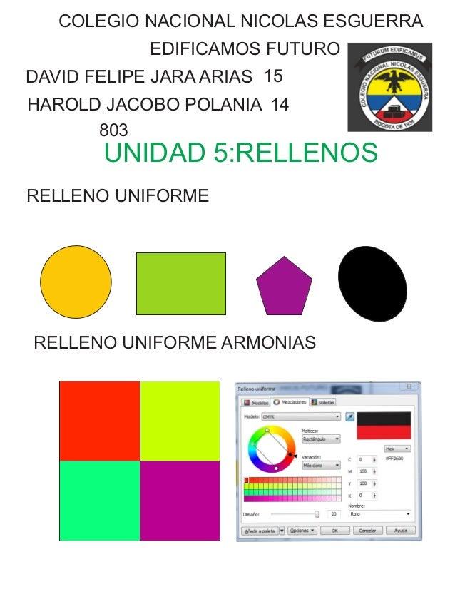 COLEGIO NACIONAL NICOLAS ESGUERRA EDIFICAMOS FUTURO DAVID FELIPE JARA ARIAS HAROLD JACOBO POLANIA 15 14 803 UNIDAD 5:RELLE...