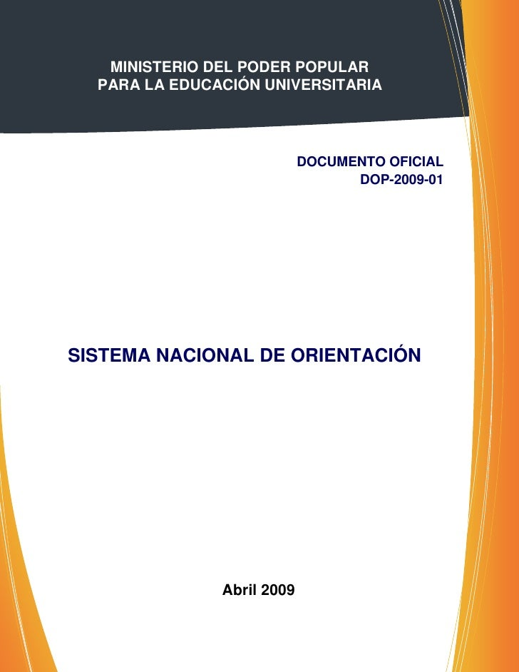 MINISTERIO DEL PODER POPULAR  PARA LA EDUCACIÓN UNIVERSITARIA                            DOCUMENTO OFICIAL                ...