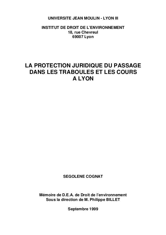 UNIVERSITE JEAN MOULIN - LYON III INSTITUT DE DROIT DE L'ENVIRONNEMENT 18, rue Chevreul 69007 Lyon LA PROTECTION JURIDIQUE...