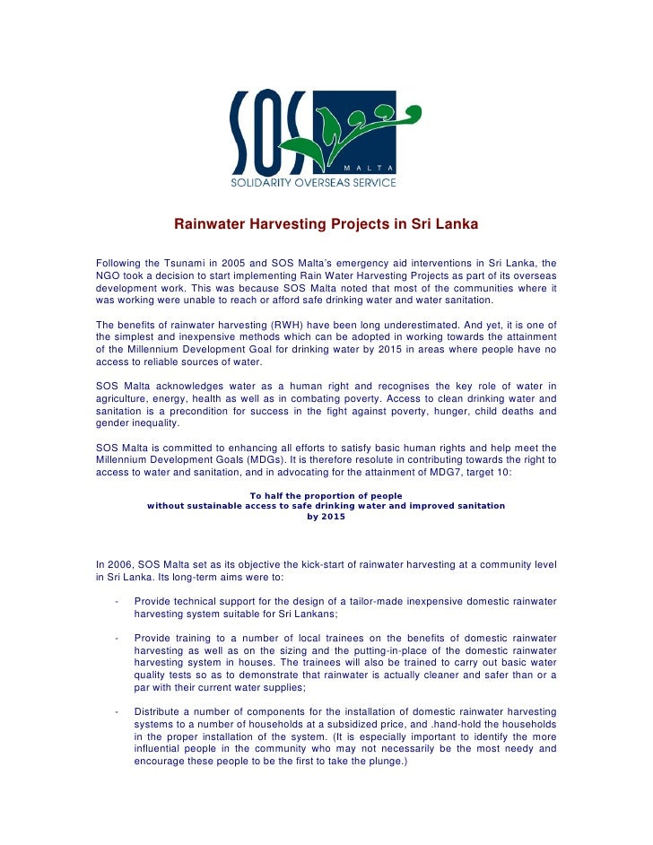 Rainwater Harvesting Projects in Sri LankaFollowing the Tsunami in 2005 and SOS Malta's emergency aid interventions in Sri...