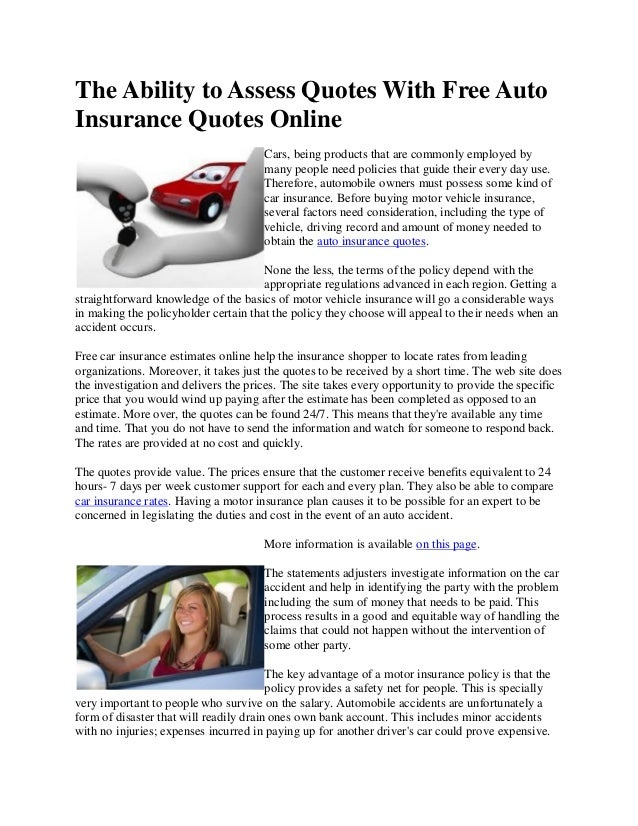 Free Auto Insurance Quotes | The Ability To Assess Quotes With Free Auto Insurance Quotes Online
