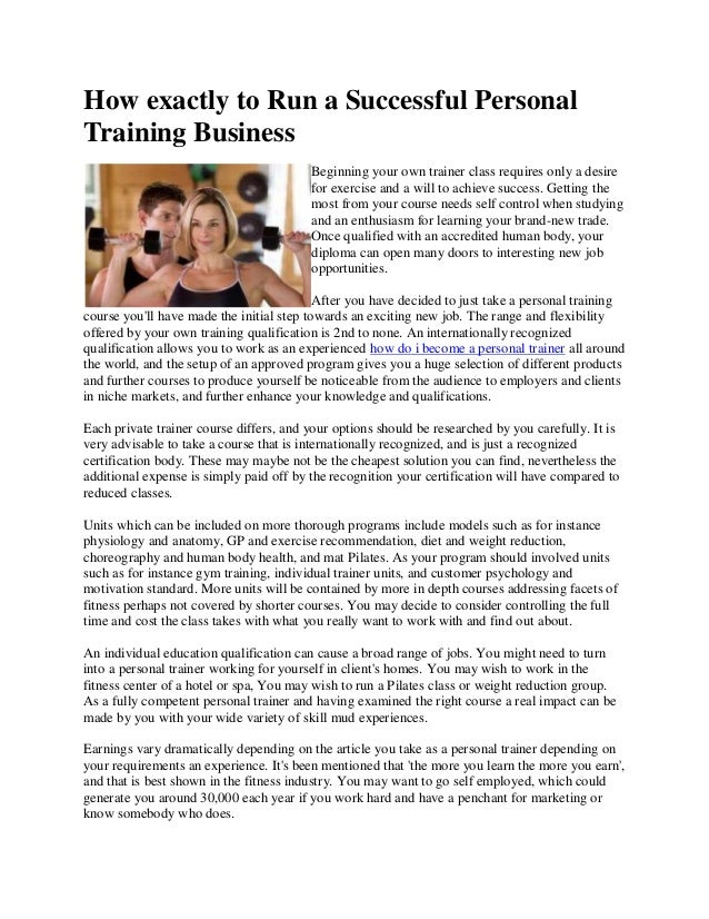 How Exactly To Run A Successful Personal Training Business