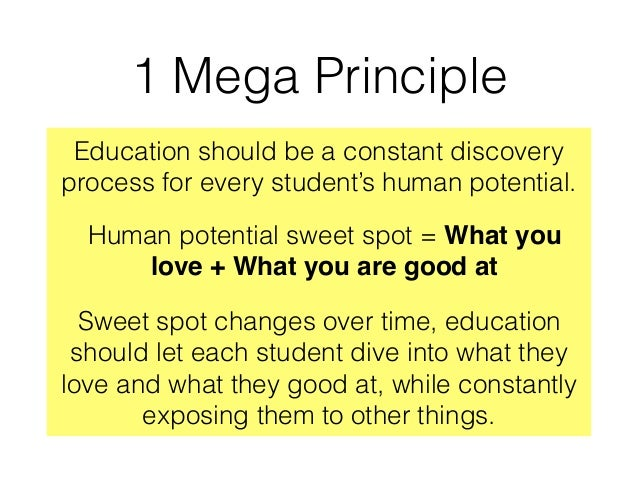 1 Mega Principle Education should be a constant discovery process for every student's human potential. Human potential swe...