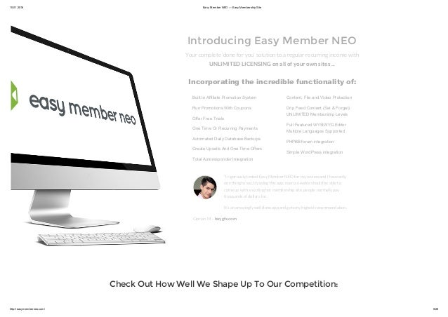 Easy Member NEO is Your complete 'done for you' solution