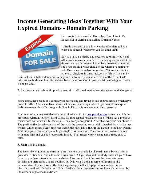 Income Generating Ideas Together With Your Expired Domains