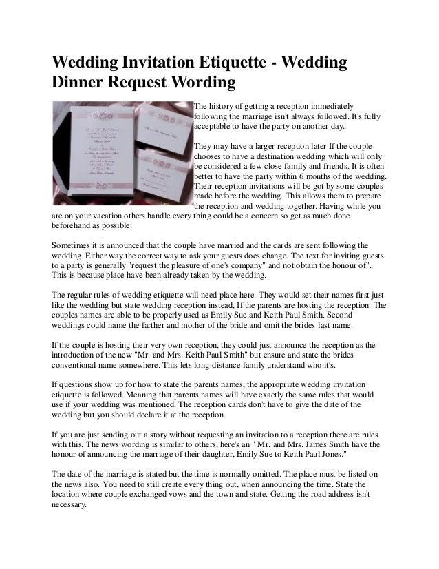 Wedding Invitation Etiquette - Wedding Dinner Request Wording