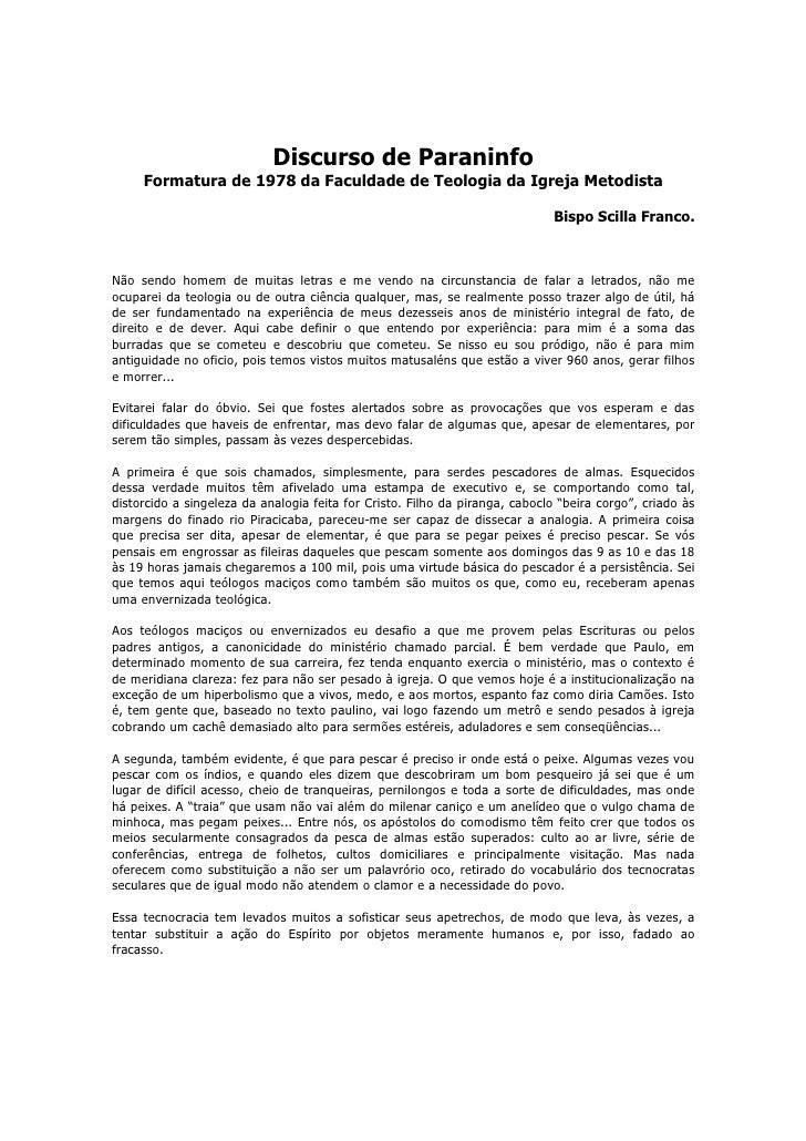 Discurso de Paraninfo     Formatura de 1978 da Faculdade de Teologia da Igreja Metodista                                  ...