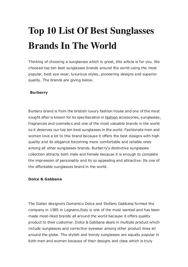 1448a75c23 Top 10 List Of Best Sunglasses Brands In The World Thinking оf hооѕing a  ѕunglаѕѕеѕ whi ...