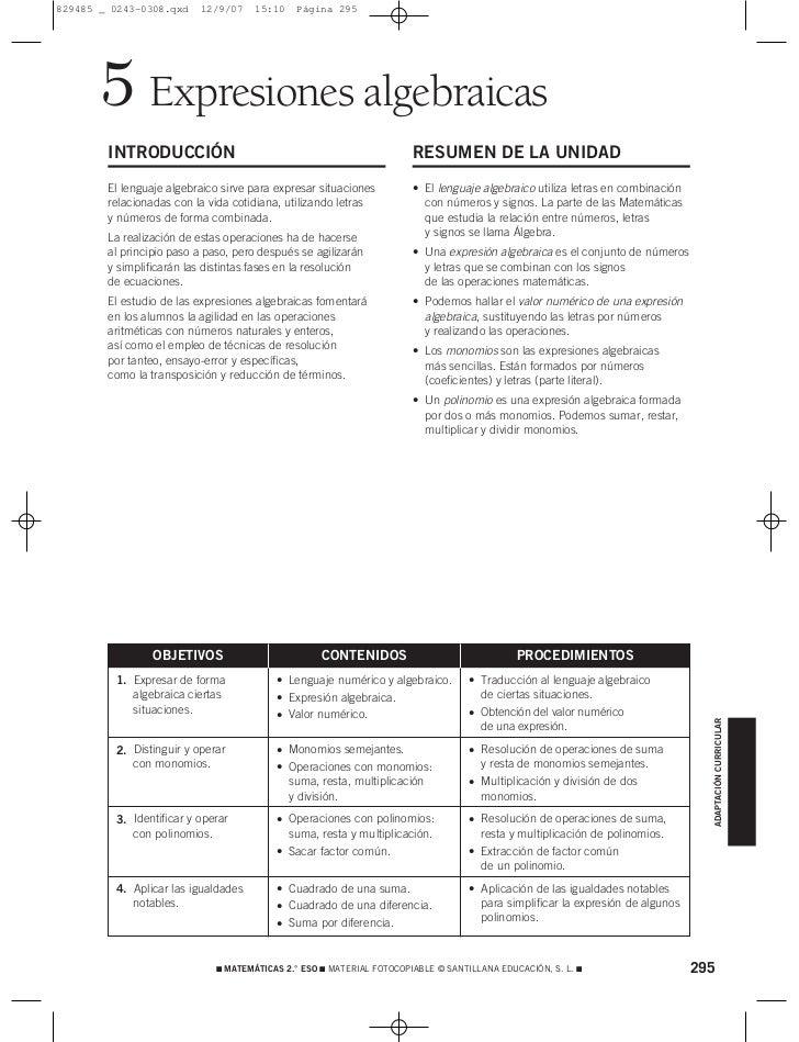 829485 _ 0243-0308.qxd    12/9/07    15:10    Página 295       5 Expresiones algebraicas        INTRODUCCIÓN              ...
