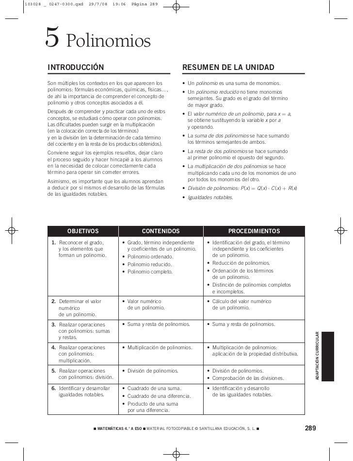 103028 _ 0247-0300.qxd     29/7/08      19:06   Página 289       5 Polinomios        INTRODUCCIÓN                         ...