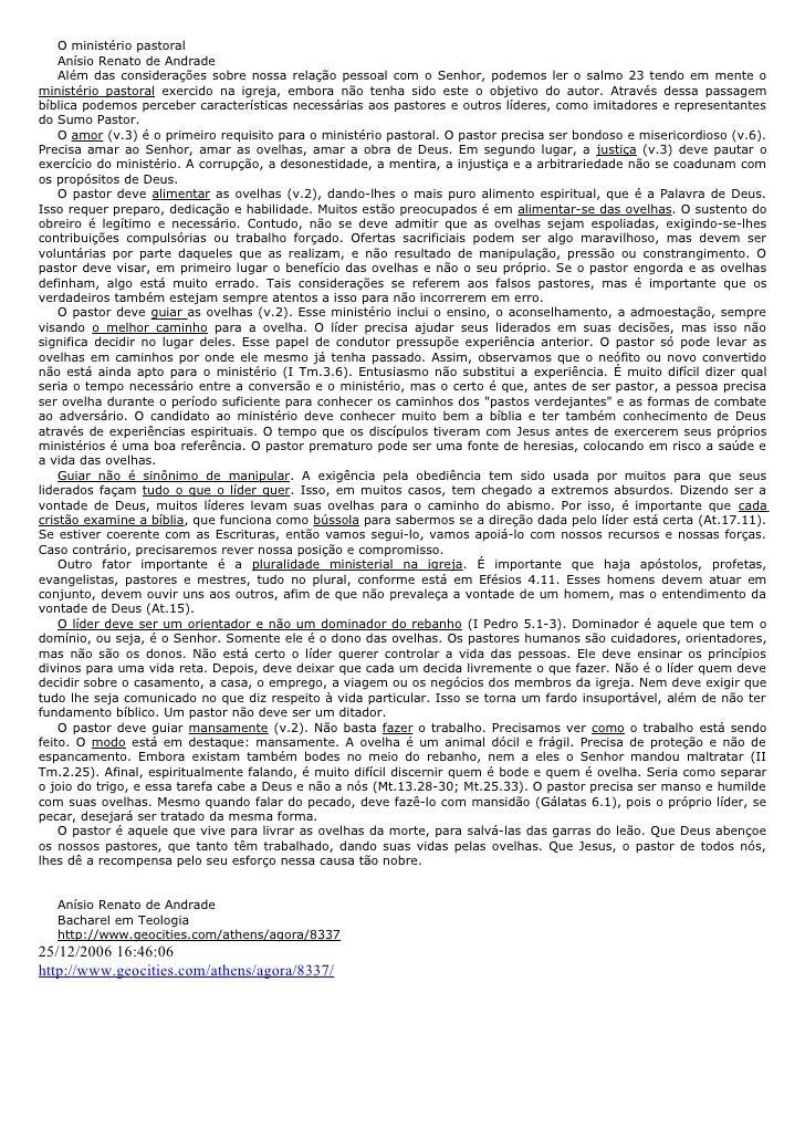 O ministério pastoral    Anísio Renato de Andrade    Além das considerações sobre nossa relação pessoal com o Senhor, pode...