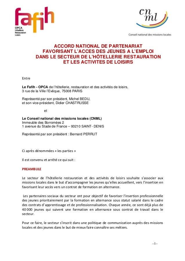 ACCORD NATIONAL DE PARTENARIAT           FAVORISANT L'ACCES DES JEUNES A L'EMPLOI         DANS LE SECTEUR DE L'HÔTELLERIE ...
