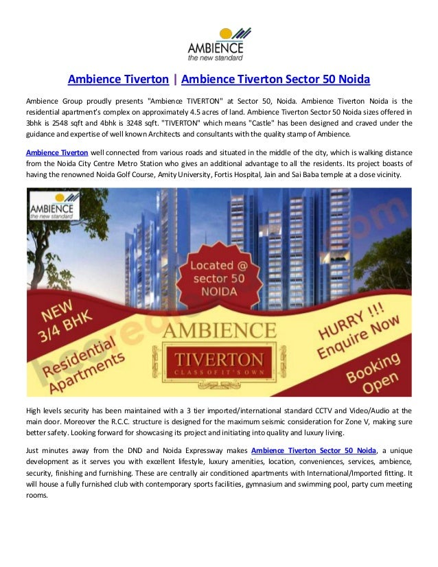 "Ambience Tiverton | Ambience Tiverton Sector 50 Noida Ambience Group proudly presents ""Ambience TIVERTON"" at Sector 50, No..."