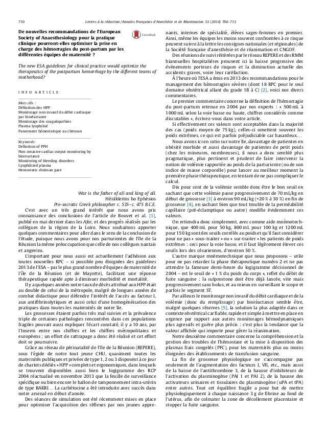 Lettres a` la re´daction / Annales Franc710 ¸aises d'Anesthe´sie et de Re´animation 33 (2014) 704–713  De nouvelles recomm...