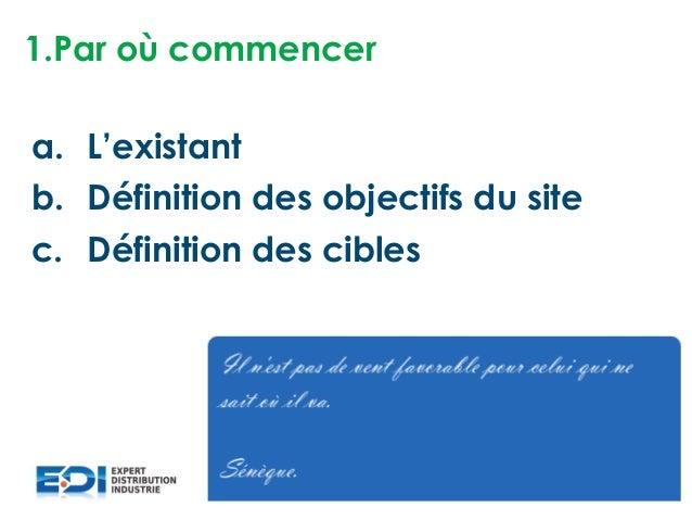 1.Par où commencer a. L'existant b. Définition des objectifs du site c. Définition des cibles
