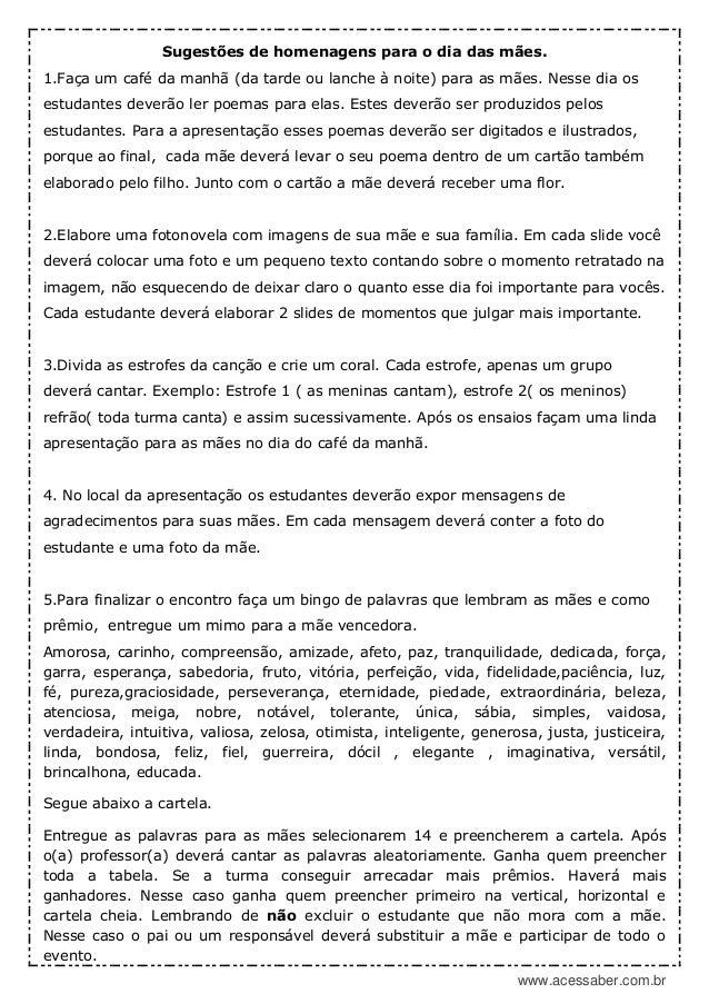 Pdf Atividade Para O Dia Das Maes Musica Obrigado Mae 6º Ao Ensi