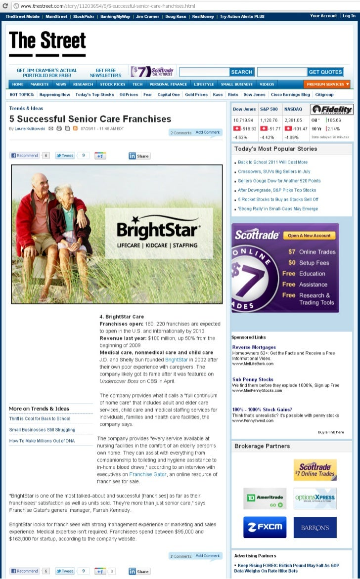 BrightStar Care on the list of 5 Successful Senior Care Franchises