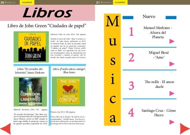 """20 INTERFACE Actualidad 21 INTERFACE Actualidad  Libros  Libro de John Green """"Ciudades de papel""""  Editorial Nube de tinta ..."""