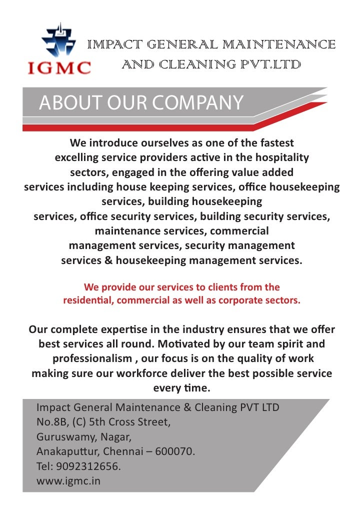 IMPACT GENERAL MAINTENANCE AND CLEANING PVT.LTD ABOUT OUR COMPANY We  Introduce ...  Best Company Profile Format