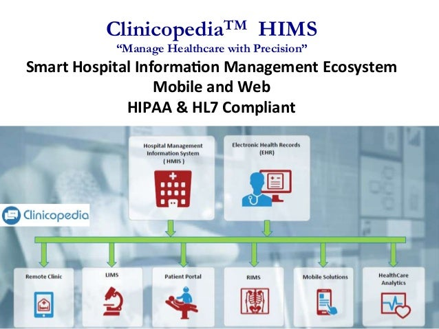 "ClinicopediaTM HIMS ""Manage Healthcare with Precision"" Smart	   Hospital	   Informa0on	   Management	   Ecosys..."