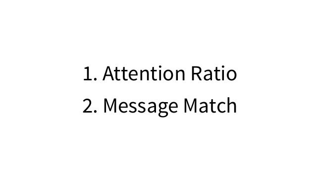 1. Attention Ratio 2. Message Match