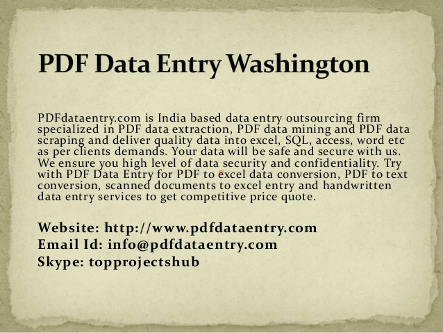 PDFdataentry.com is India based data entry outsourcing firm  specialized in PDF data extraction, PDF data mining and PDF d...