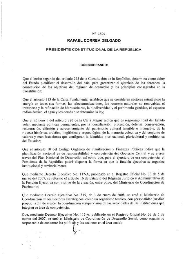 Decreto Presidencial 1507 del 08 de mayo 2013