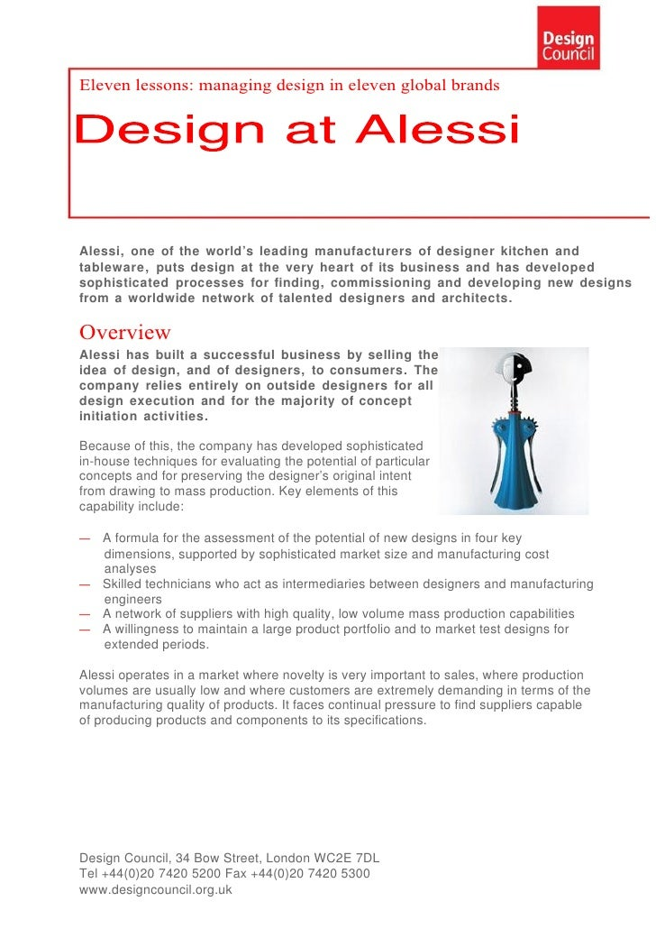 Eleven lessons: managing design in eleven global brands     Alessi, one of the world's leading manufacturers of designer k...