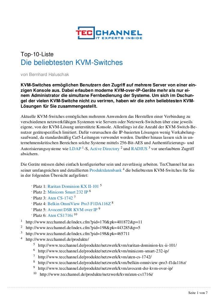 Top-10-ListeDie beliebtesten KVM-Switchesvon Bernhard HaluschakKVM-Switches ermöglichen Benutzern den Zugriff auf mehrere ...