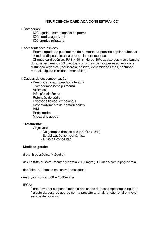 INSUFICIÊNCIA CARDÍACA CONGESTIVA (ICC) Categorias:      - ICC aguda – sem diagnóstico prévio     - ICC crônica agudizada...