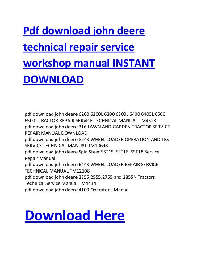 pdf download john deere technical repair service workshop manual inst rh slideshare net