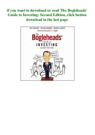 Pdf Ebook The Bogleheads Guide To Investing Second Edition Pdf