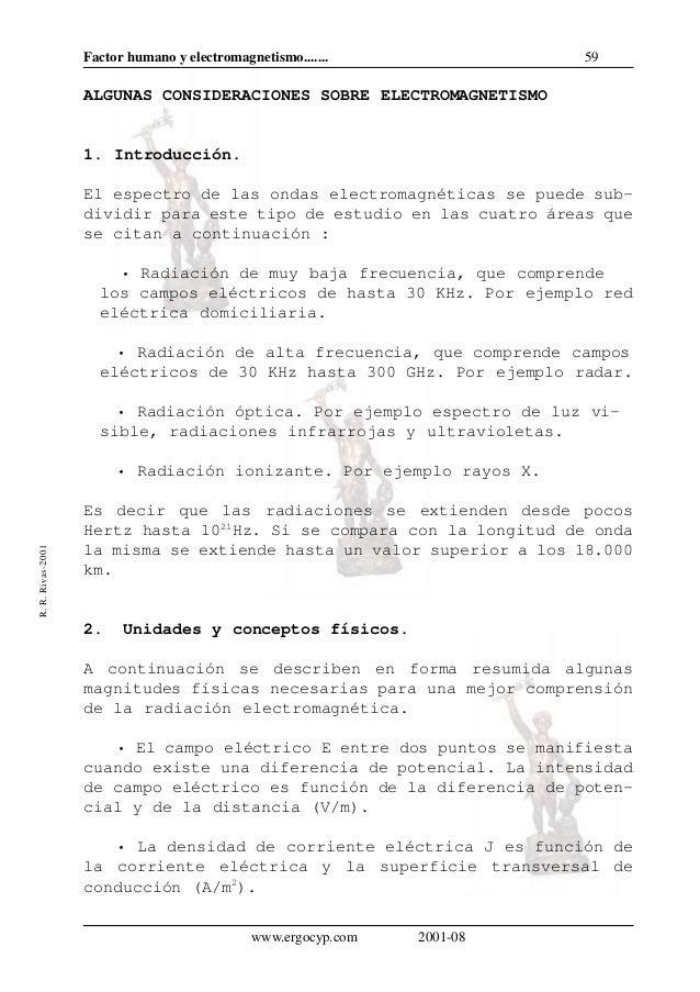 59Factor humano y electromagnetismo.......R.R.Rivas-2001www.ergocyp.com 2001-08ALGUNAS CONSIDERACIONES SOBRE ELECTROMAGNET...