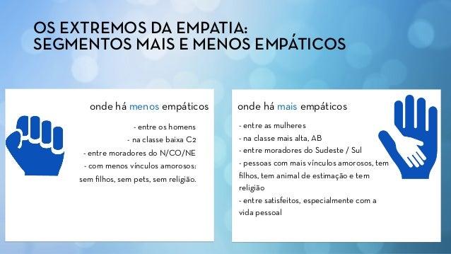 OS EXTREMOS DA EMPATIA: SEGMENTOS MAIS E MENOS EMPÁTICOS onde há mais empáticosonde há menos empáticos - entre as mulheres...