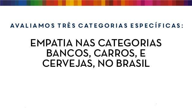 EMPATIA NAS CATEGORIAS BANCOS, CARROS, E CERVEJAS, NO BRASIL Avaliamos três categorias específicas: