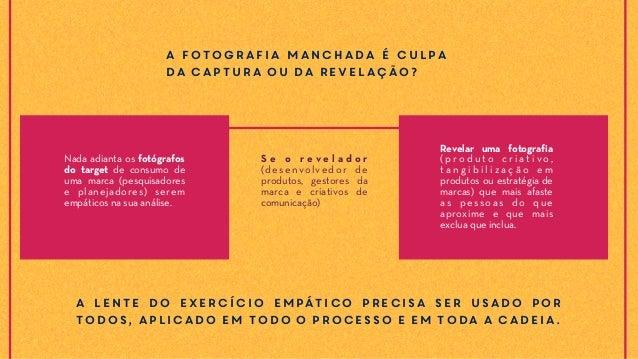 A fotografia manchada é culpa da captura ou da revelação? Nada adianta os fotógrafos do target de consumo de uma marca (pe...