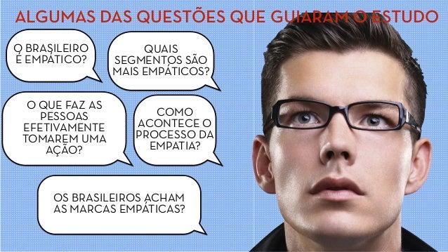 ALGUMAS DAS QUESTÕES QUE GUIARAM O ESTUDO O BRASILEIRO É EMPÁTICO? QUAIS SEGMENTOS SÃO MAIS EMPÁTICOS? COMO ACONTECE O PRO...