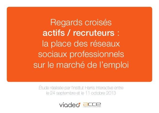 Regards croisés actifs / recruteurs : la place des réseaux sociaux professionnels sur le marché de l'emploi étude réalisée...
