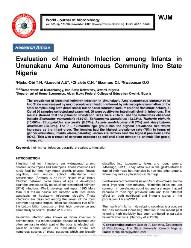 Evaluation of Helminth Infection among Infants in Umunakanu