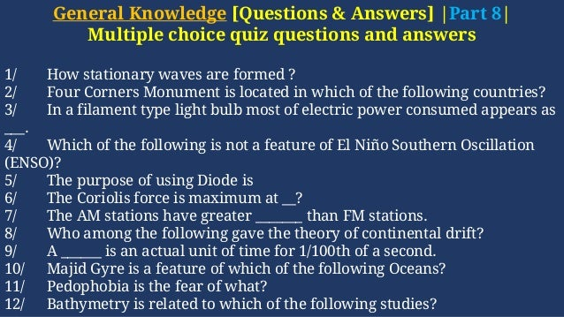 General knowledge | Questions & Answers [gk part 8]-MCQs