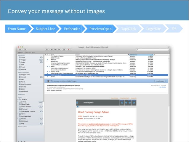 Convey your message without images From Name  Subject Line  Preheader  Preview/Open  Tap/Click  Page/Site  ???