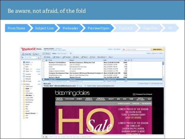 Be aware, not afraid, of the fold From Name  Subject Line  Preheader  Preview/Open  Tap/Click  Page/Site  ???