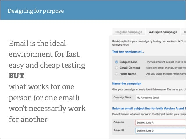Designing for purpose  Email is the ideal environment for fast, easy and cheap testing BUT what works for one person (or o...