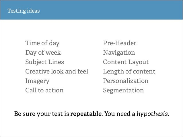 Testing ideas  Time of day  Pre-Header  Day of week  Navigation  Subject Lines  Content Layout  Creative look and feel  Le...