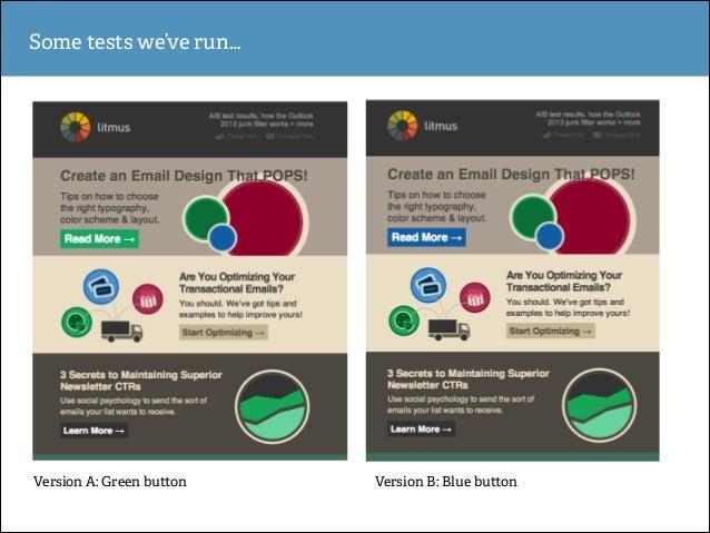 Some tests we've run…  Version A: Green bu on  Version B: Blue bu on