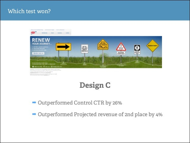 Which test won?  Design C ➡ Outperformed Control CTR by 26% ➡ Outperformed Projected revenue of 2nd place by 4%