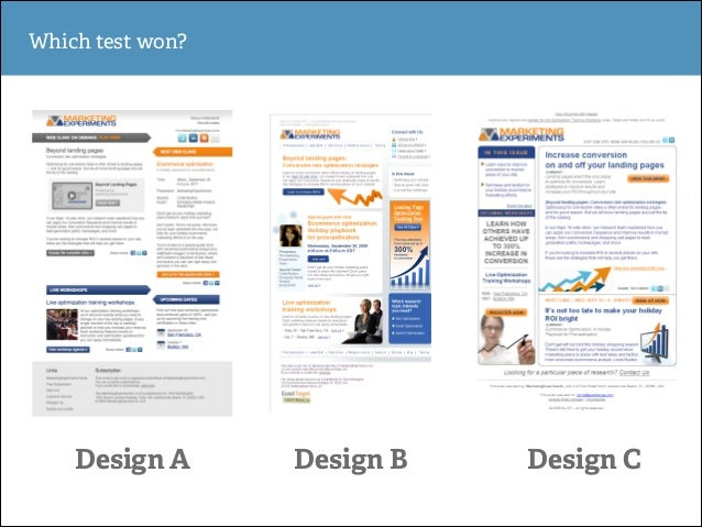 Which test won?  Design A  Design B  Design C