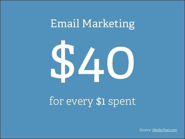 Email Marketing  $40 for every $1 spent  Source: MediaPost.com