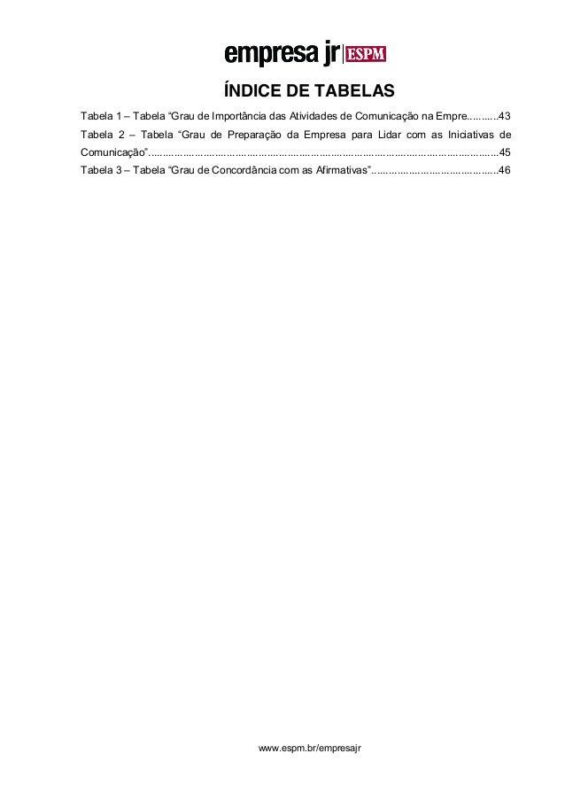 """8 www.espm.br/empresajr ÍNDICE DE TABELAS Tabela 1 – Tabela """"Grau de Importância das Atividades de Comunicação na Empre......"""