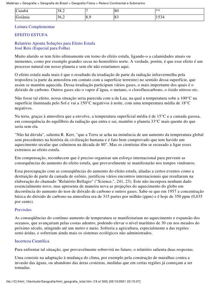 Matérias > Geografia > Geografia do Brasil > Geografia Física > Relevo Continental e Submarino      Cuiabá                ...